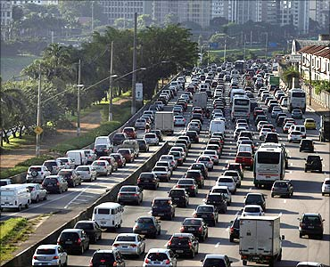 Vehicles are seen in a traffic jam during rush hour in Sao Paulo.