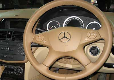 Interior view of Mercedes Benz C-Class.