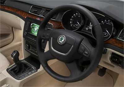 Interior view of Skoda Superb.
