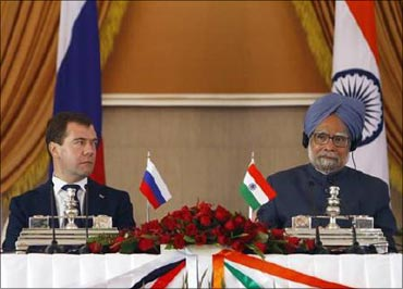 (File photo) Prime Minister Singh with Russian President Dmitry Medvedev.
