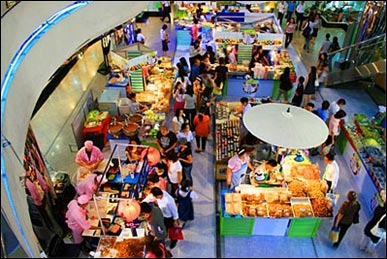 People shop in Thailand.