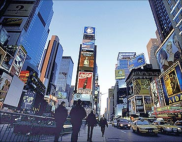 Times Square is the most visited site.