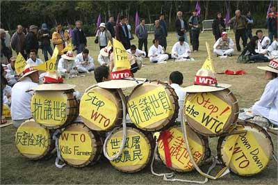 Protestors at a WTO meet.