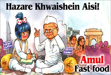 Anna Hazare in Amul ad.