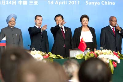 (L to R) Prime Minister Manmohan Singh, Russian President Dmitry Medvedev, Chinese President Hu Jintao, Brazilian President Dilma Rousseff and South African President Jacob Zuma at the BRICS Leaders Me