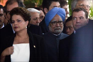 Prime Minister Manmohan Singh and Brazilian President Dilma Rousseff at the BRICS Leaders Meeting.