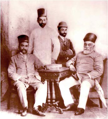 J N Tata (sitting right to left), the founder of the Tata Group; Sir Dorabji Tata, (standing right to left); the elder son of J N Tata, Sir Ratan Tata, his younger brother and R D Tata, father of JRD Tata.