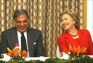 US Secretary of State Hillary Clinton and Ratan Tata at a meeting.