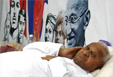 Anna Hazare during his recent protest at Jantar-Mantar at New Delhi.