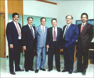 Infosys founders (Left to right): Nandan Nilekani, S Gopalakrishnan, N R Narayana Murthy, K Dinesh,