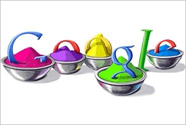 Google celebrated Holi with doodle.