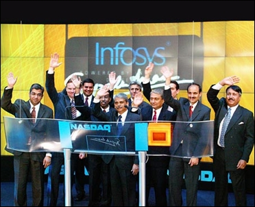 Infosys CEO S Gopalakrishnan and colleagues at the Nasdaq listing.