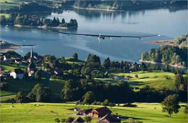 Solar Impulse flying over Geneva Lake.