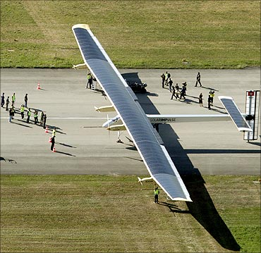 Solar Impulse's solar-powered HB-SIA prototype airplane stands still after its first successful night flight attempt at Payerne airport on July 8, 2010.