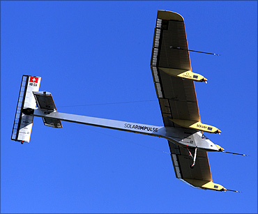 Andre Borschberg flies in the solar-powered HB-SIA prototype.