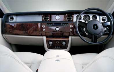 Interior view of Rolls Royce Phantom.