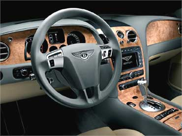 Interior view of Bentley Continental GT.