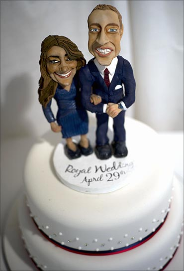 A wedding cake featuring Prince William and his fiancee Catherine Middleton.