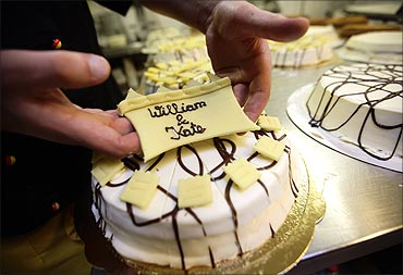 Confectioner Florian Baecker prepares cakes for the wedding of Prince William and Kate Middleton.