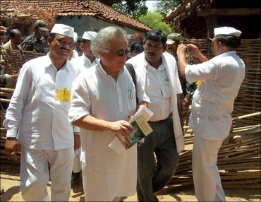 Jairam Ramesh along with residents of Mendha Lekha