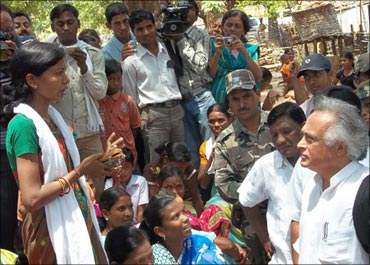 Jairam Ramesh listening to the problems of people in Mendha Lekha.