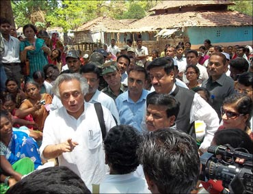 Jairam Ramesh interacting with residents of Mendha Lekha.