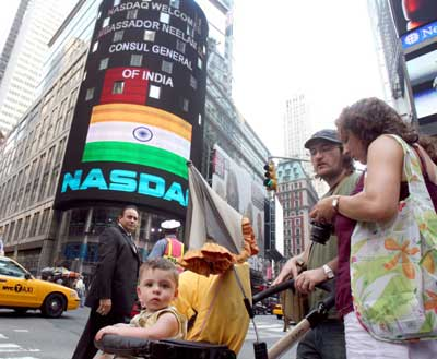 The Indian Tricolour features on the Nasdaq building in New York.
