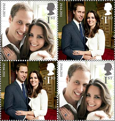 A set of commemorative stamps, to celebrate the wedding of Britain's Prince William and Kate Middleton.