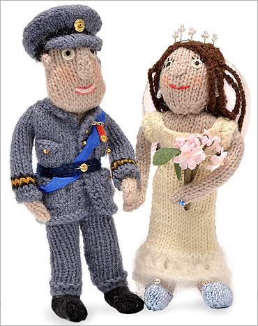 Knitted figures of Britain's Prince William and Kate Middleton.