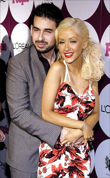 Singer Christina Aguilera with Jordan Bratman.