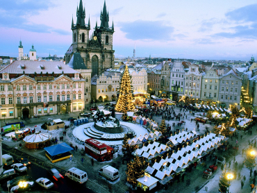 A decorated square in Prague.