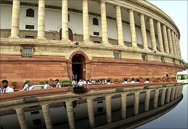 A view of the Indian parliament building.