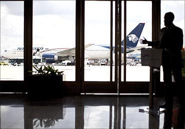 An Aeromexico Boeing 777 is seen during a presentation.