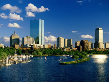 A clear sky above Boston.