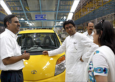 Raj Thackeray at the Nano plant.