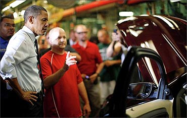 President Obama visits the Ford plant in Chicago.