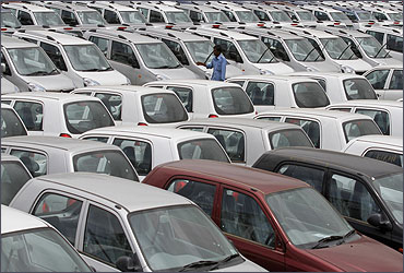 A worker at the Maruti Suzuki stockyard in Ahmedabad.
