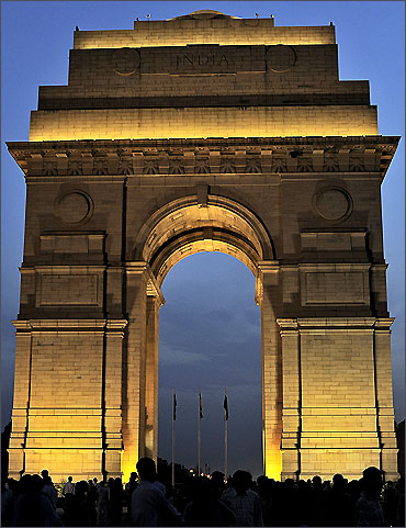 A general view of the illuminated historic India Gate.