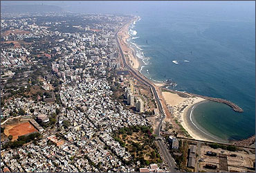 Aerial view of Vishakhapatnam.