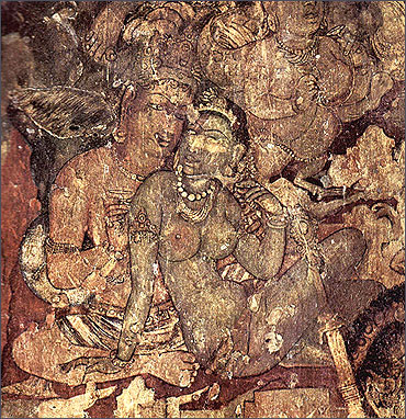 Painting from the Ajanta Caves in Aurangabad, Maharashtra.