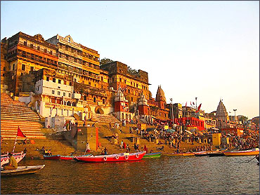A view of Varanasi by the Ganges.