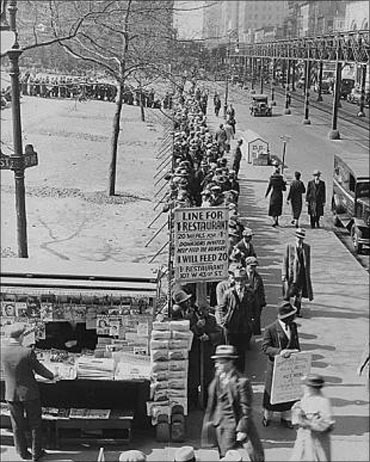 A breadline in New York City during the Great Depression.