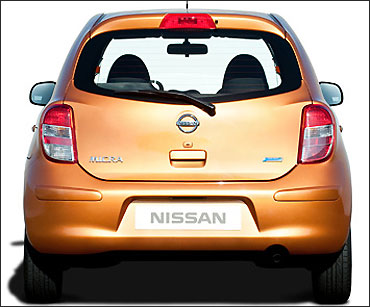 Rear view of Nissan Micra.