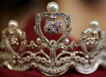 Platinum tiara jewellery decorated with 'Hello Kitty' charm on display in Tokyo.