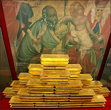 Gold bars at the Czech National Bank in Prague.