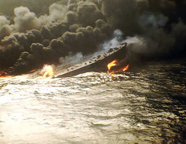 Spanish tanker Castillo de Bellver caught fire and eventually suffered an explosion.