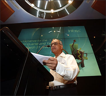 N R Narayana Murthy speaks during a news conference in Bangalore.