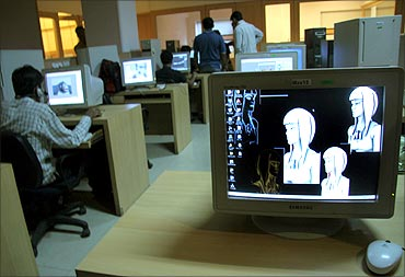 Indian animation designers work on a production floor in Mumbai.