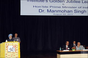 Prime Minister Manmohan Singh at the Golden Jubilee Lecture of the Indian Institute of Management Calcutta, in Kolkata on August 22, 2011.