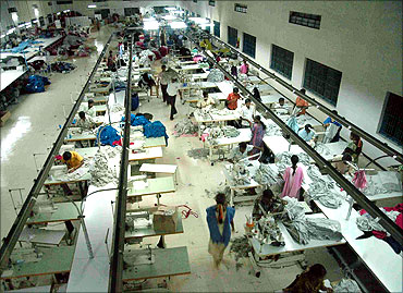 Inside a garments export factory in Tiruppur.